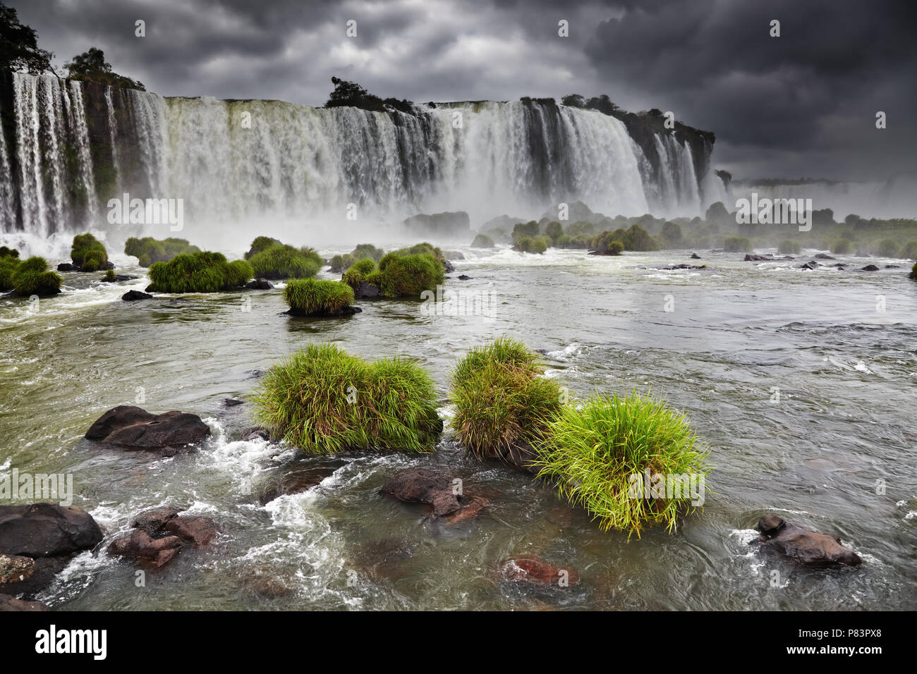 Iguassu Falls, the largest series of waterfalls of the world, located at the Brazilian and Argentinian border, View from Brazilian side Stock Photo