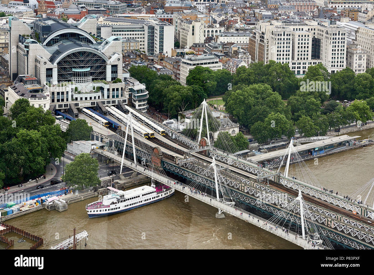 Charing cross train station arial view - Stock Image