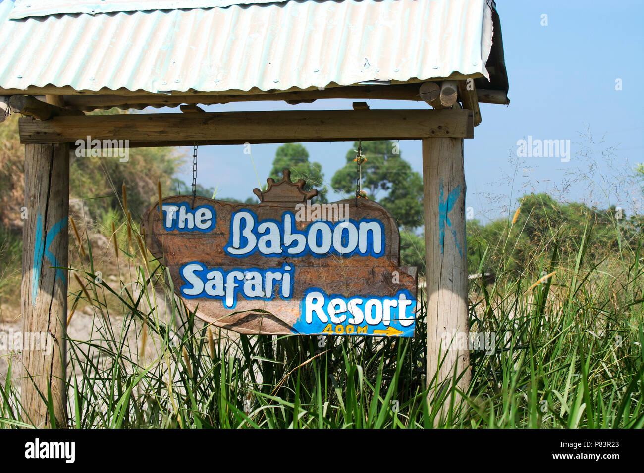 Safari Lodge, Resort, Sign for the Baboon Safari Resort, Queen Elizabeth National Park, Uganda - Stock Image
