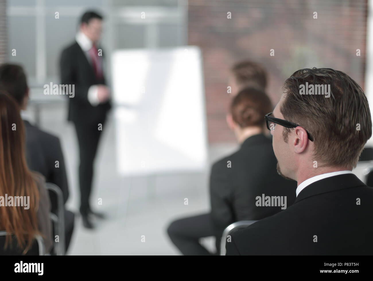 businessman holds a presentation of a new project - Stock Image