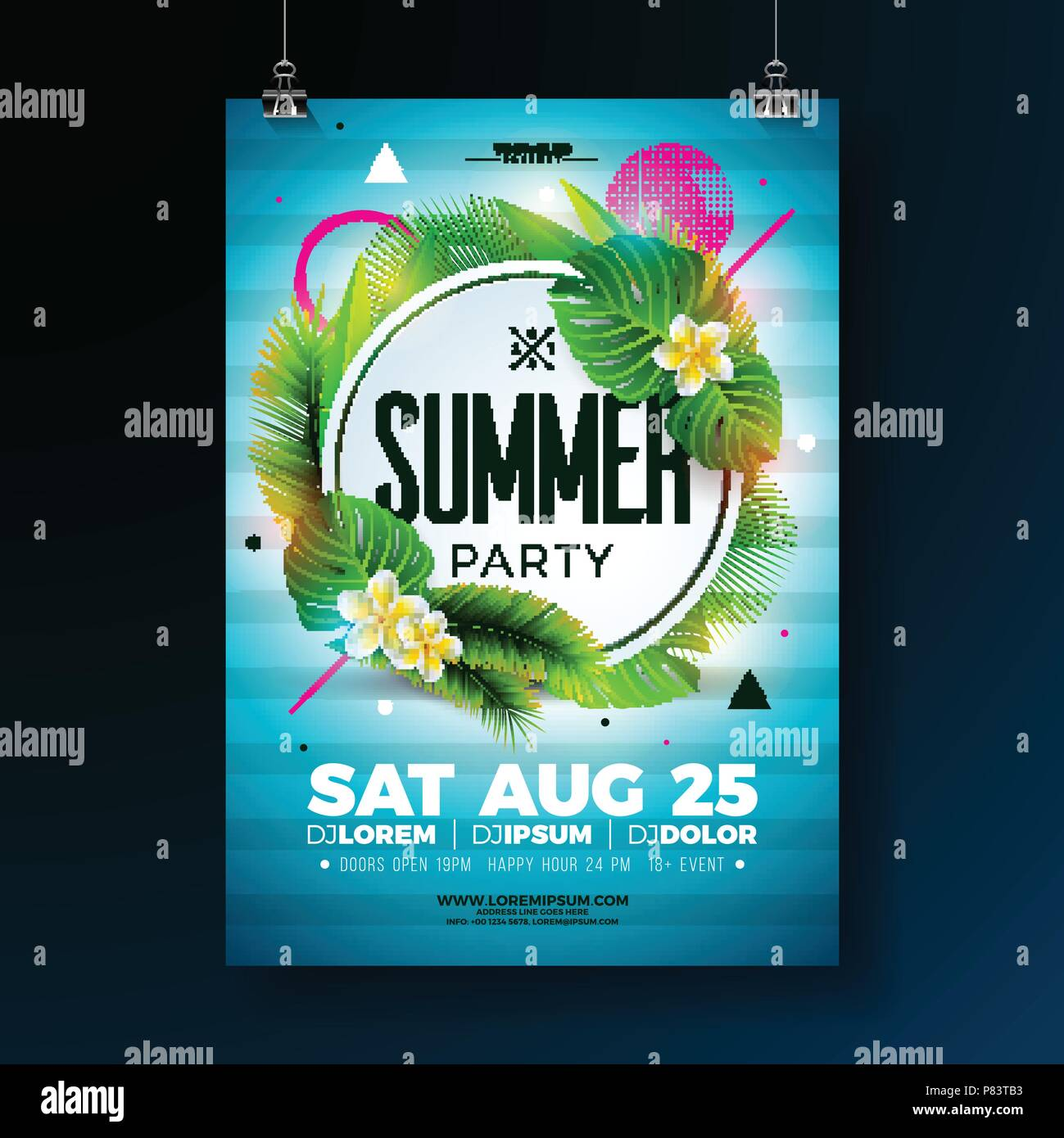 vector summer party flyer design with tropical leaves and flower on