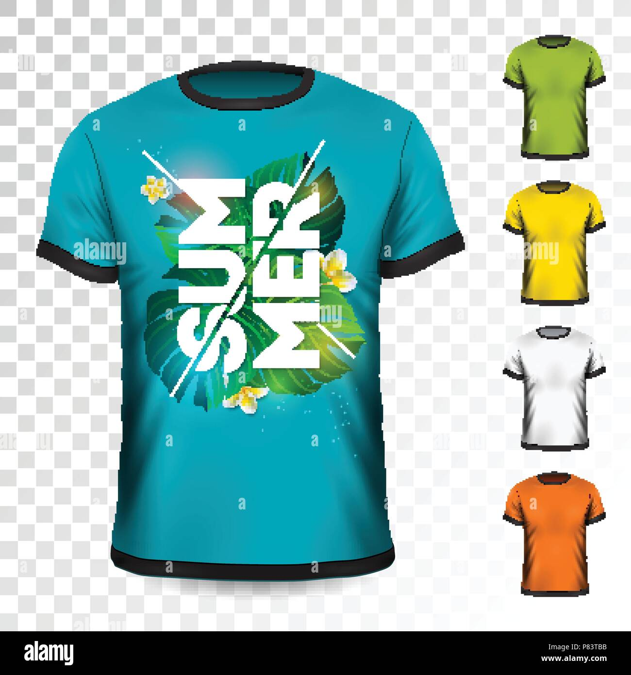 Summer Holiday T-Shirt design with tropical leaves and flower on ...