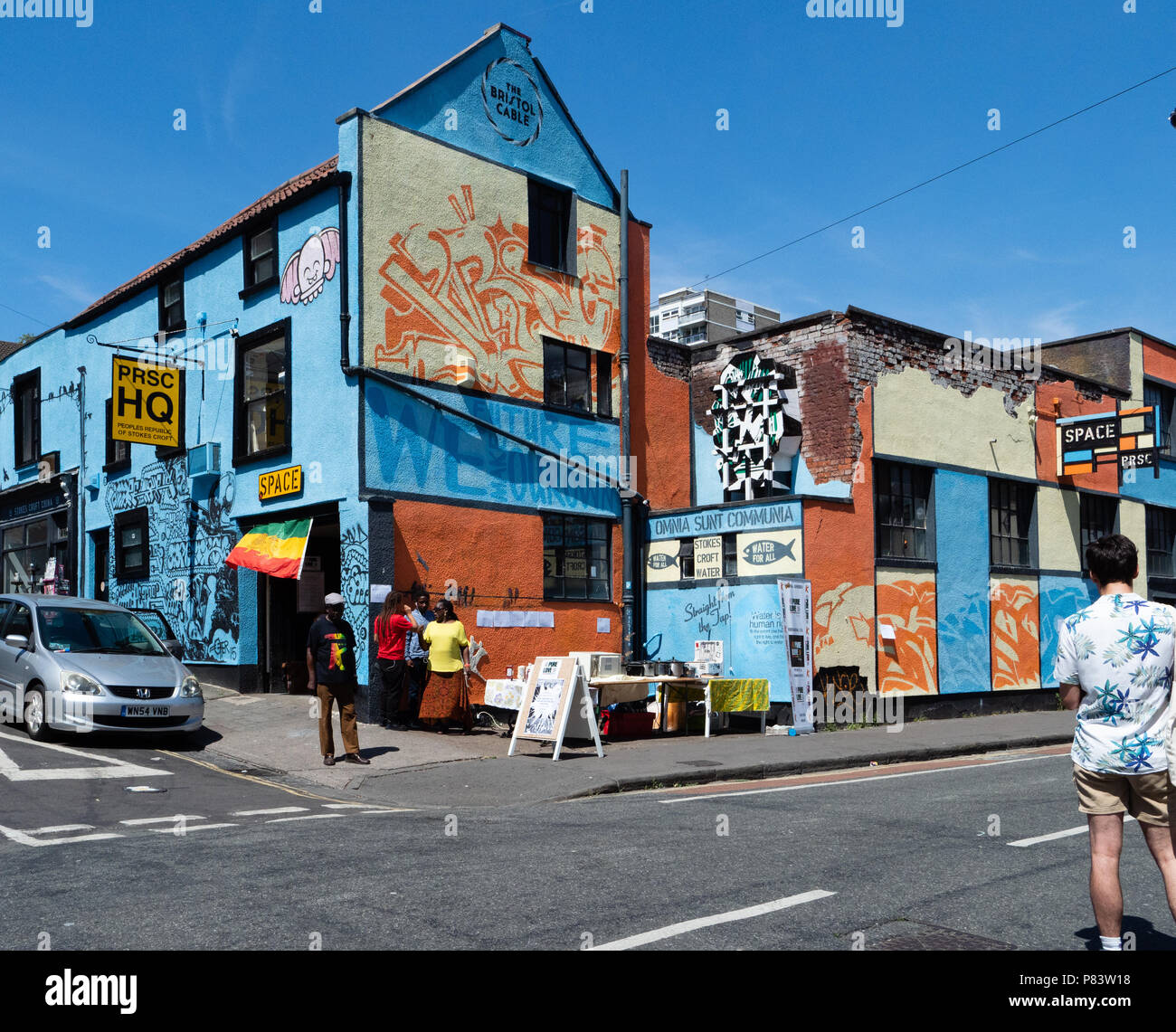 Colourful corner of Bristol at the Peoples Republic of Stokes Croft PRSC  HQ cafe and bar - Stock Image