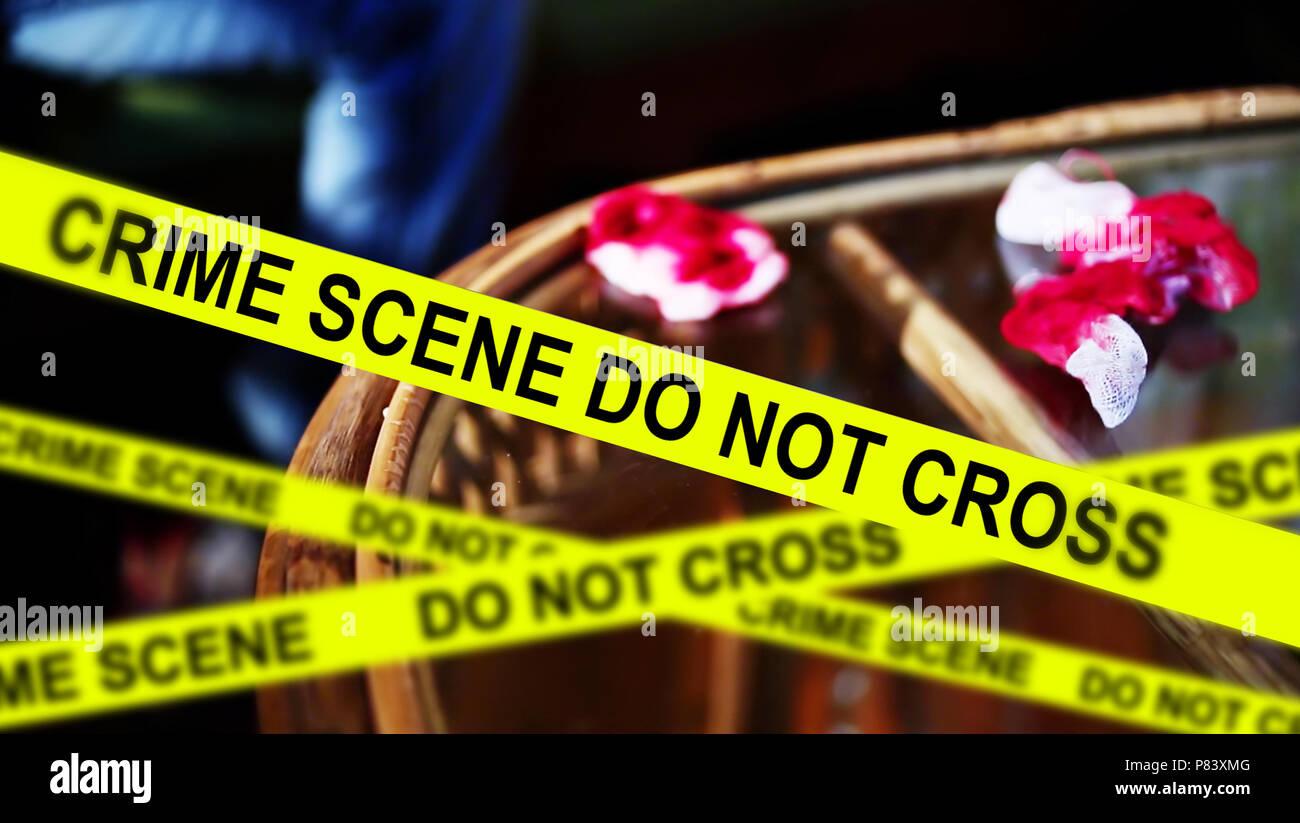 crime scene investigation,yellow crime scene tape, - Stock Image