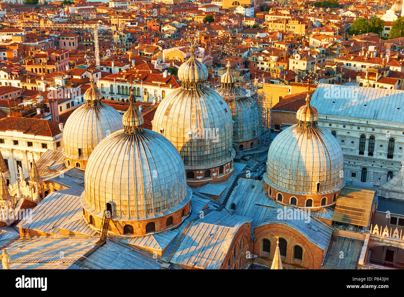 Domes of The Patriarchal Cathedral Basilica of Saint Mark in Venice in the early evening, Italy - Stock Image