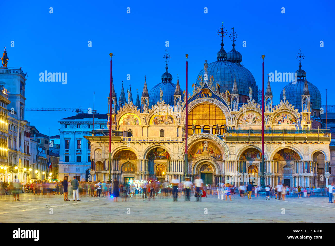 The Patriarchal Cathedral Basilica of Saint Mark in Venice in the late evening, Italy - Stock Image