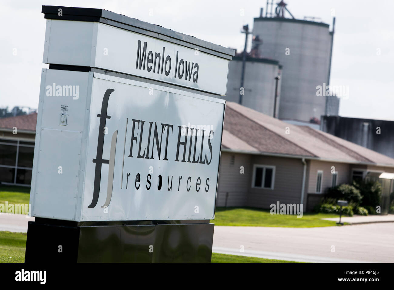 A logo sign outside of a facility occupied by Flint Hills Resources in Menlo, Iowa, on June 30, 2018. - Stock Image