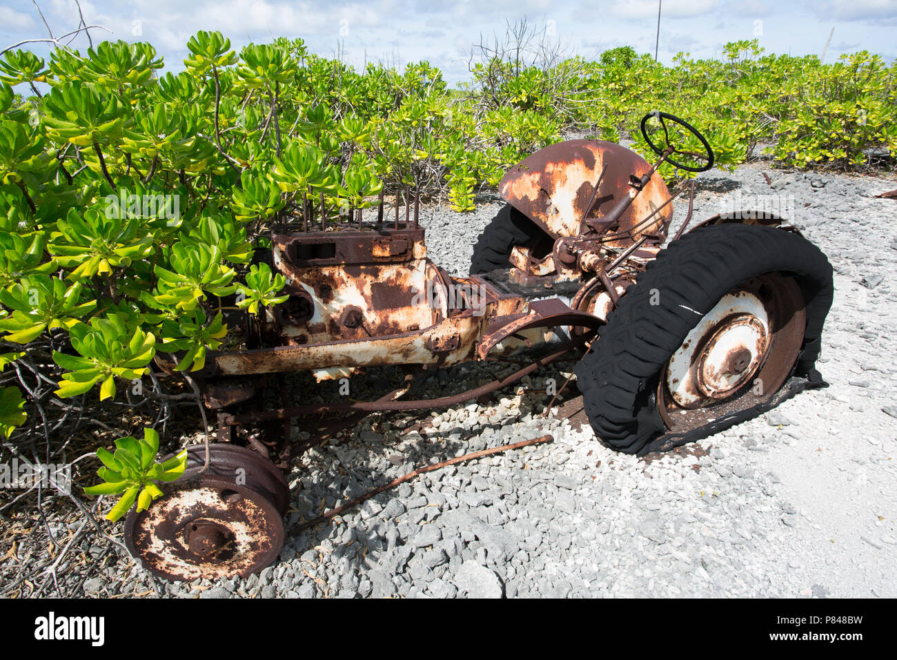 Abandoned tractor on Kanton Island, Phoenix Islands, Kiribati Stock Photo