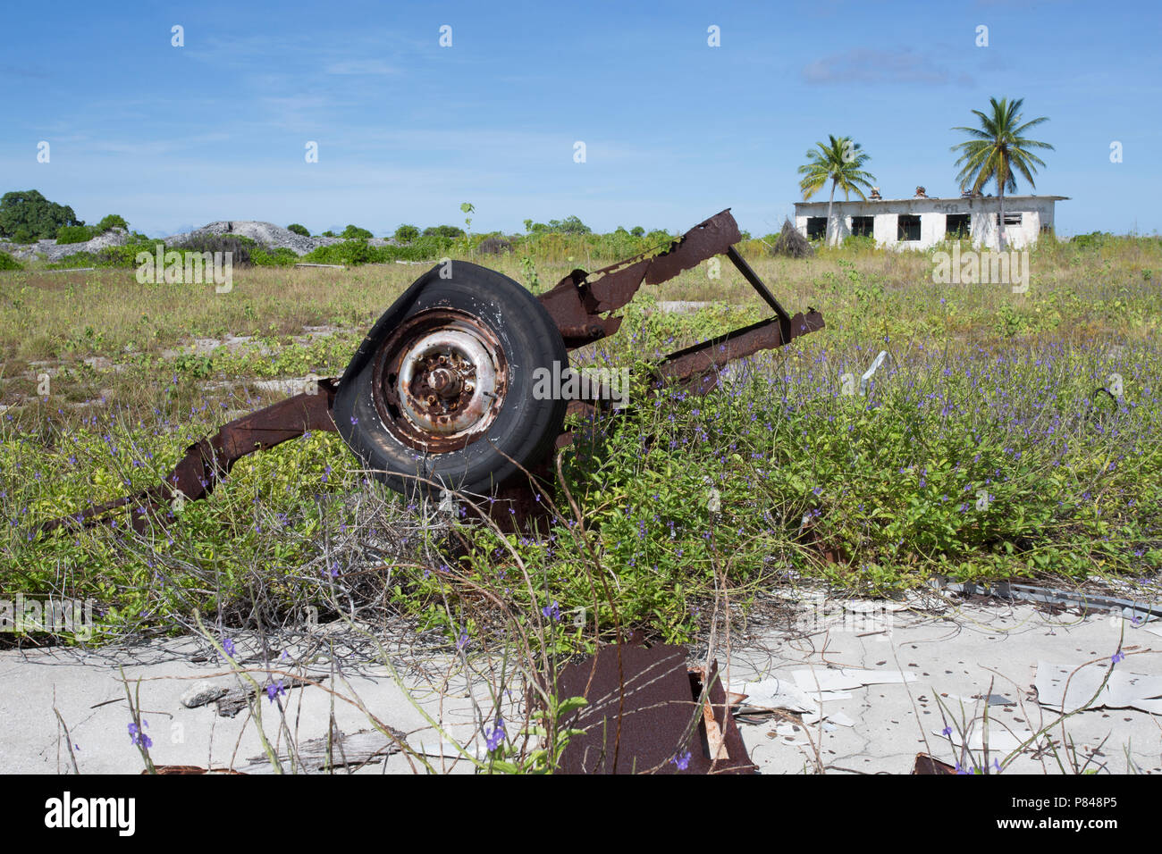 Abandoned buildings and machinery on Kanton Island, Kiribati from the United States in World War 2. - Stock Image