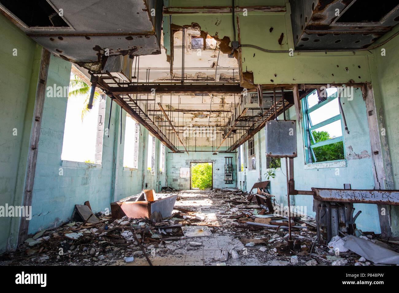 Abandoned building on Kanton Island, Kiribati from the United States in World War 2. - Stock Image