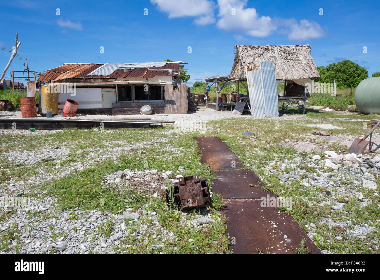Tebaronga settlement on Kanton Island, Phoenix Islands, Kiribati - Stock Image