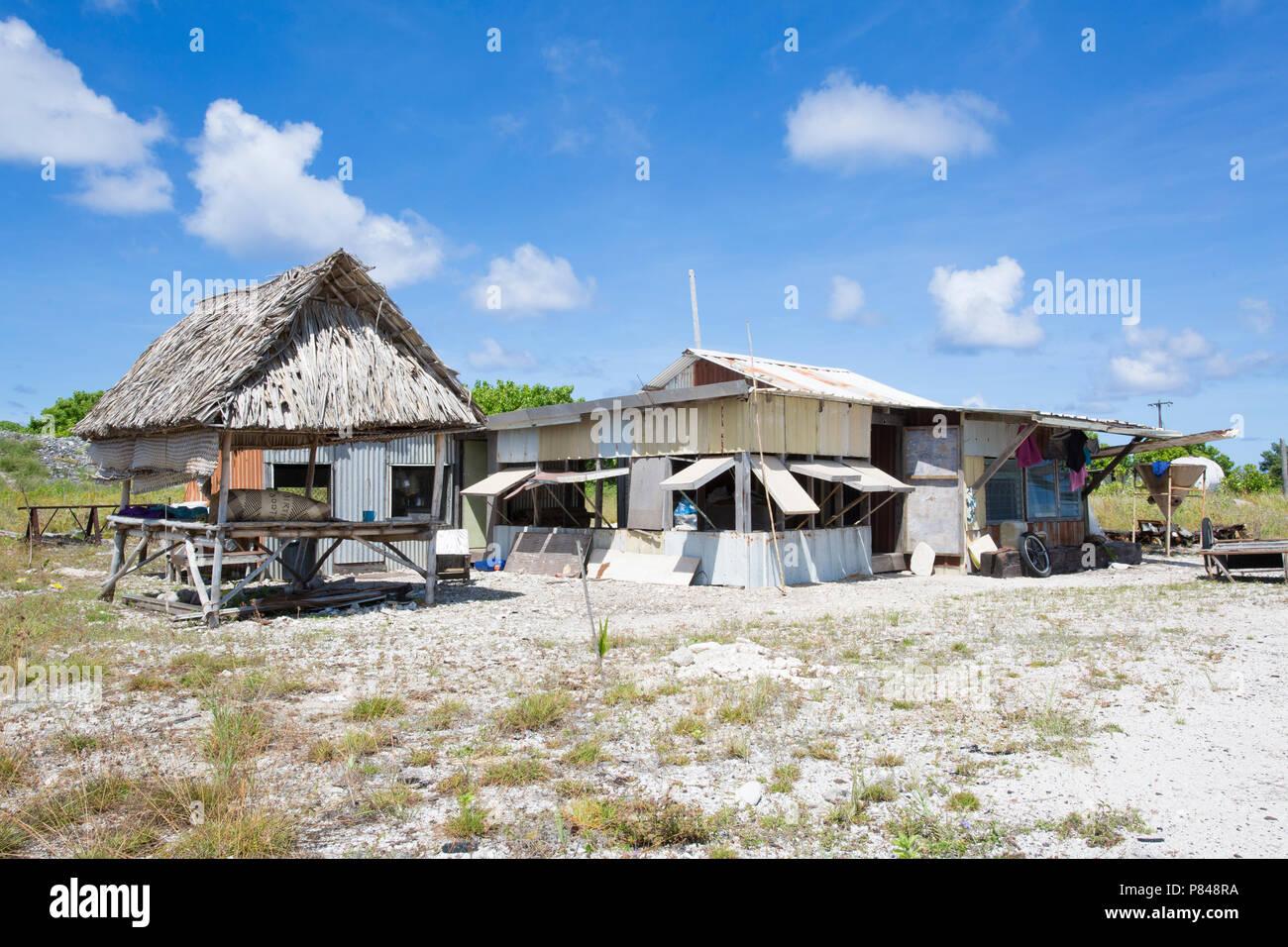 Tebaronga settlement on Kanton Island, Phoenix Islands, Kiribati Stock Photo