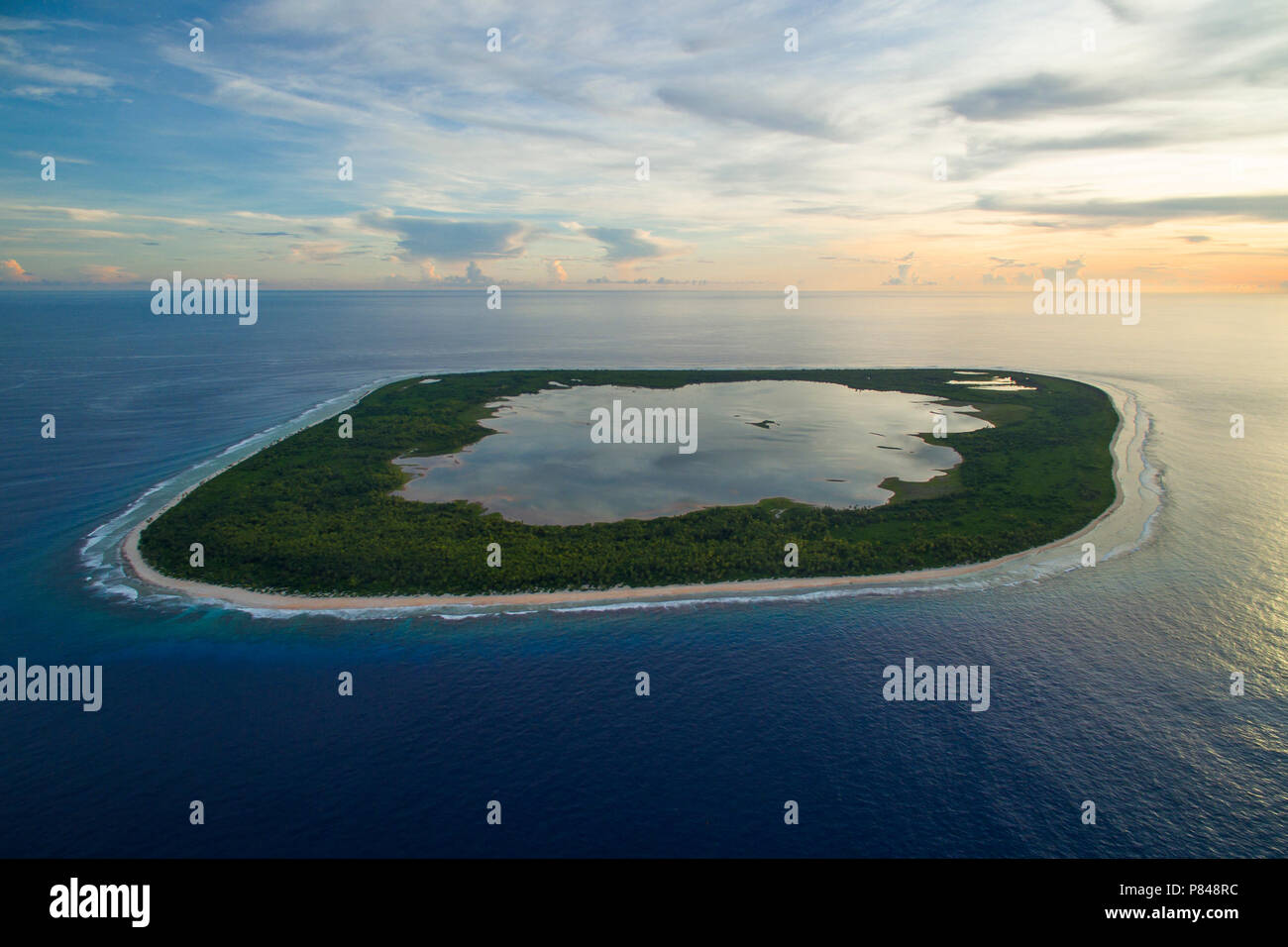 Aerial view of Manra Island, Phoenix Islands, Kiribati - Stock Image