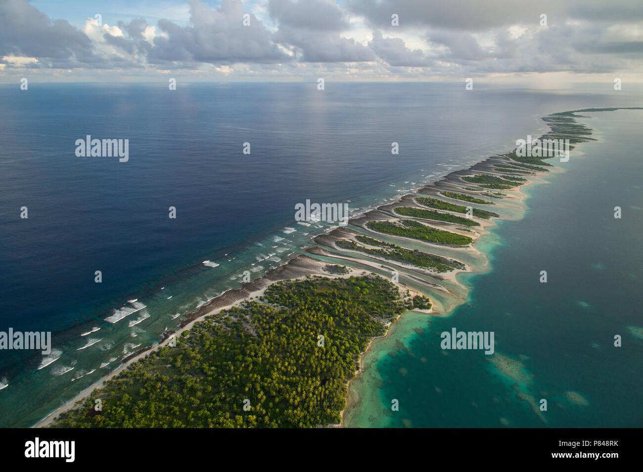 Aerial View of Orona Island, an uninhabited island in the Phoenix Islands, Kiribati. - Stock Image