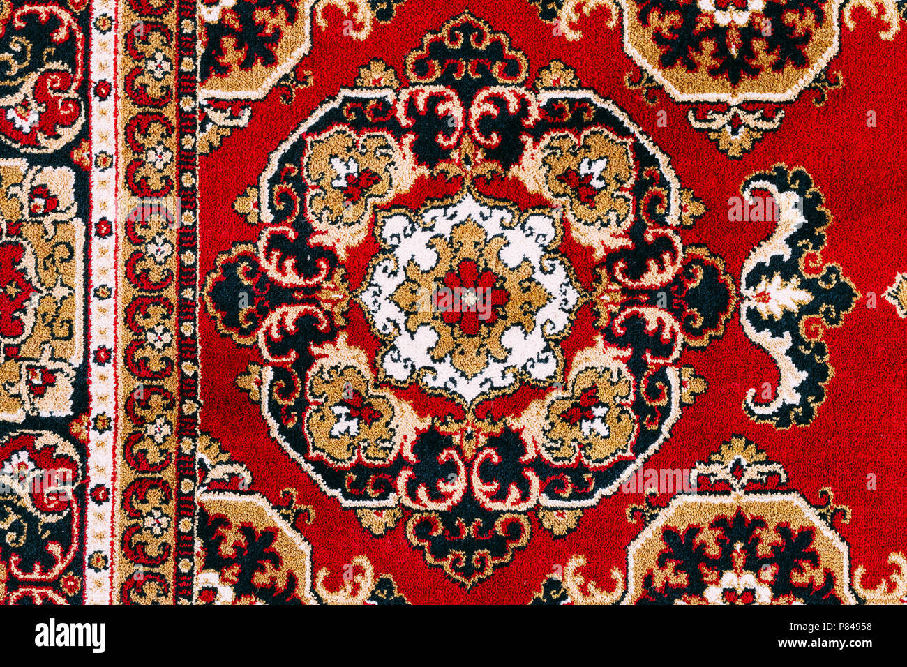 Red Asian Oriental Persian Carpet Texture Background Stock