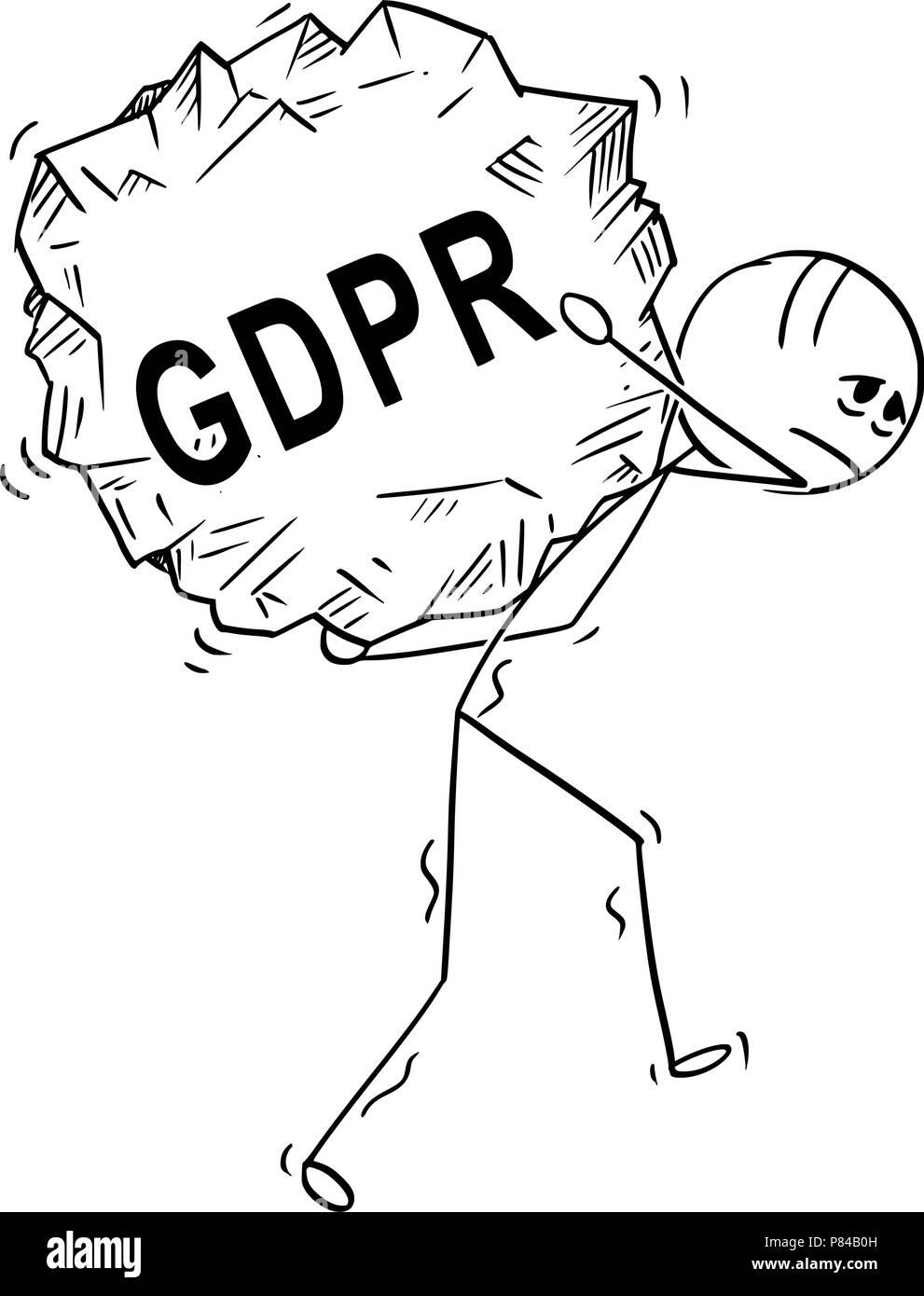 Cartoon of Man Carrying Big Piece of Rock With Text GDPR - Stock Image