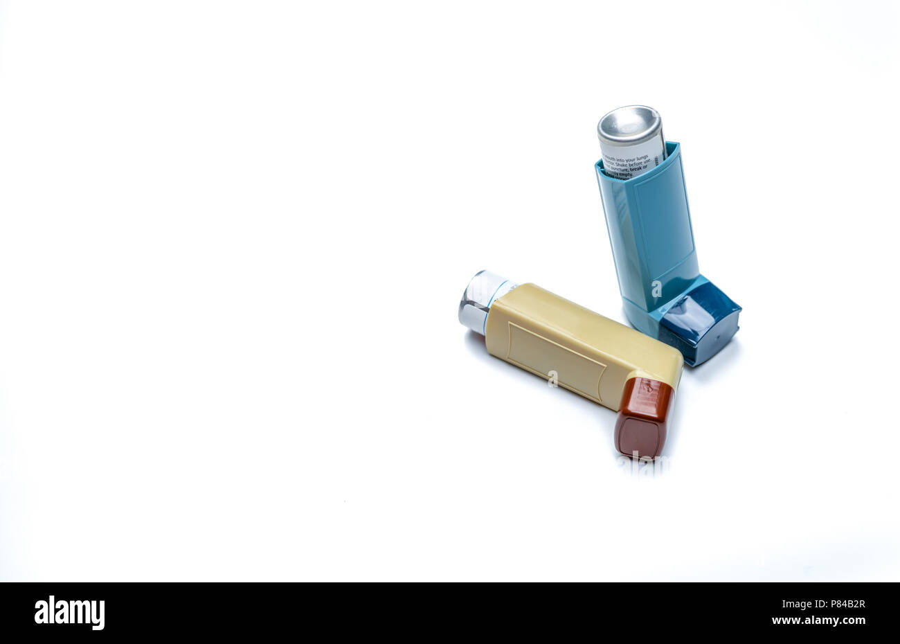 Asthma inhaler. Asthma controller, reliever equipment. Steroids and bronchodilator drug for asthma and chronic bronchitis. Budesonide aerosol CFC free - Stock Image