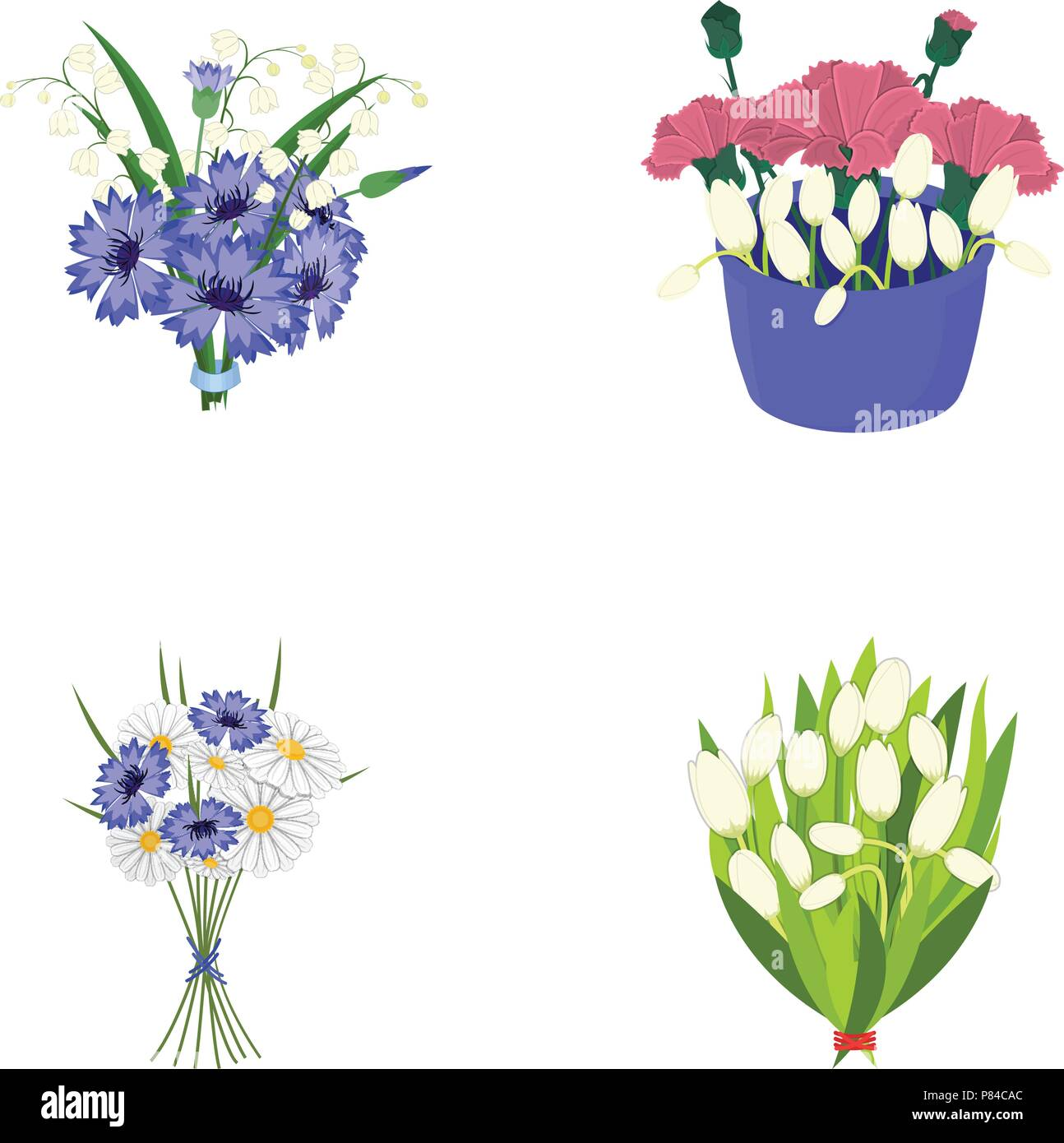 A Bouquet Of Fresh Flowers Cartoon Icons In Set Collection For