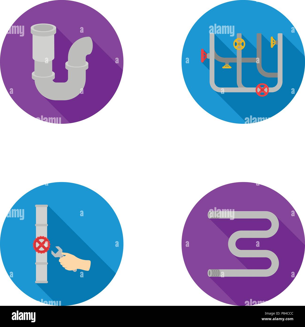 A siphon, a towel warmer and other equipment.Plumbing set collection icons in flat style vector symbol stock illustration . - Stock Image