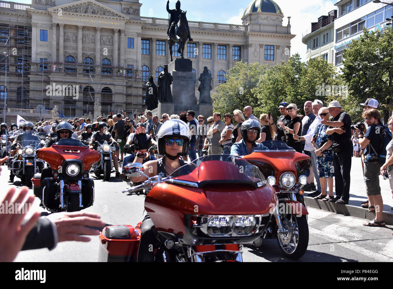 celebrations of 115 years of legendary U.S. brand Harley-Davidson in Prague - Stock Image