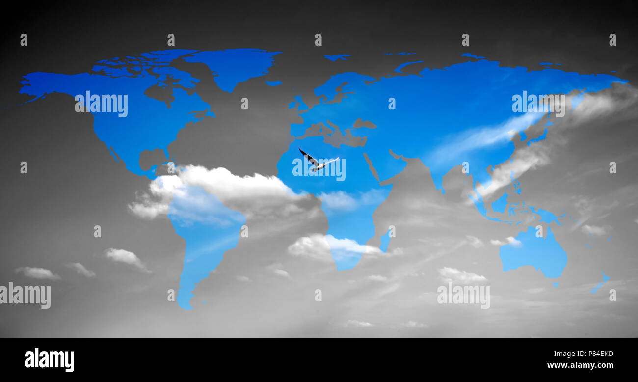 An image of a bird and flat world map stock photo 211540993 alamy an image of a bird and flat world map gumiabroncs Gallery