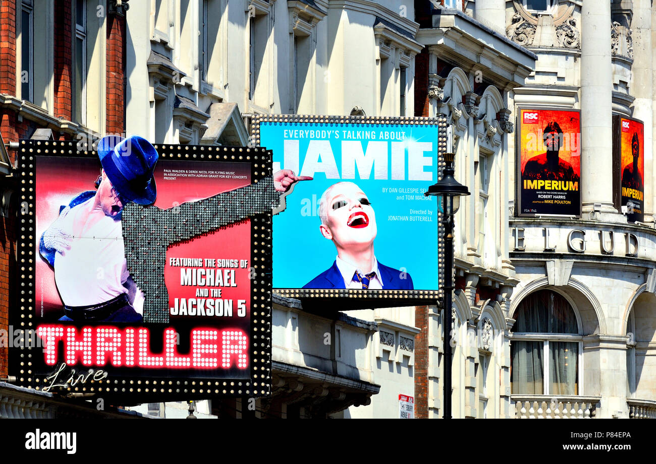 Shaftesbury Avenue theatres, London, England, UK. Thriller, Everybody's Talking about Jamie, Imperium. (July 2018) - Stock Image
