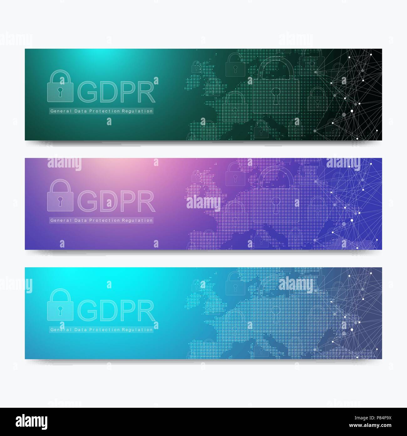 Banners GDPR - General Data Protection Regulation. Protection of personal data. Vector illustration. - Stock Image