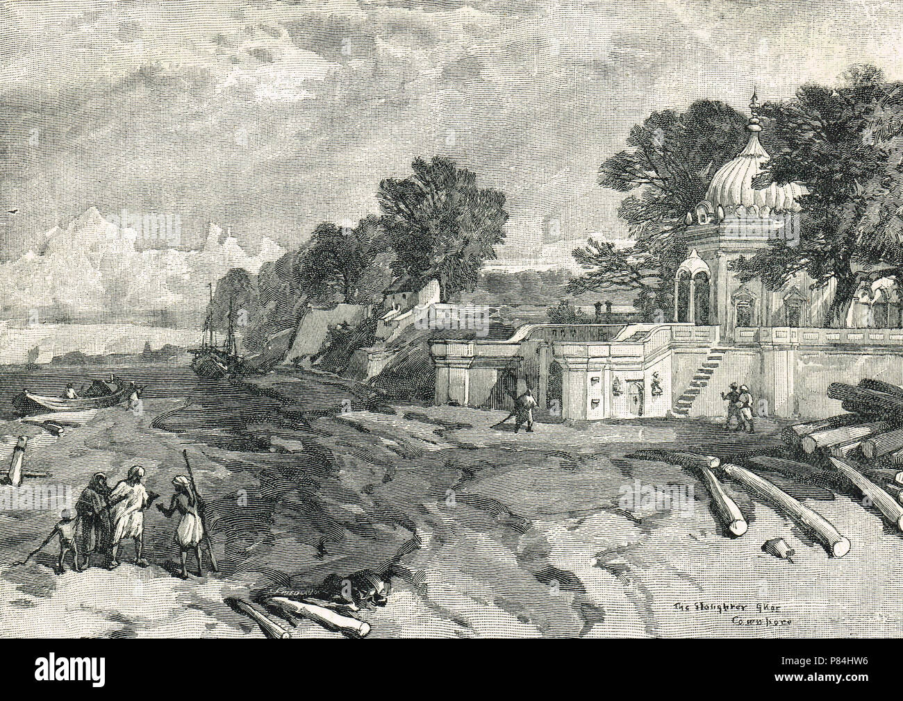 The Slaughter Ghat, or massacre Ghat, Cawnpore (present day Kanpur), India. Site of the slaughter of survivors of the siege of Cawnpore, on 27 June 1857, during the Indian Rebellion of 1857 - Stock Image