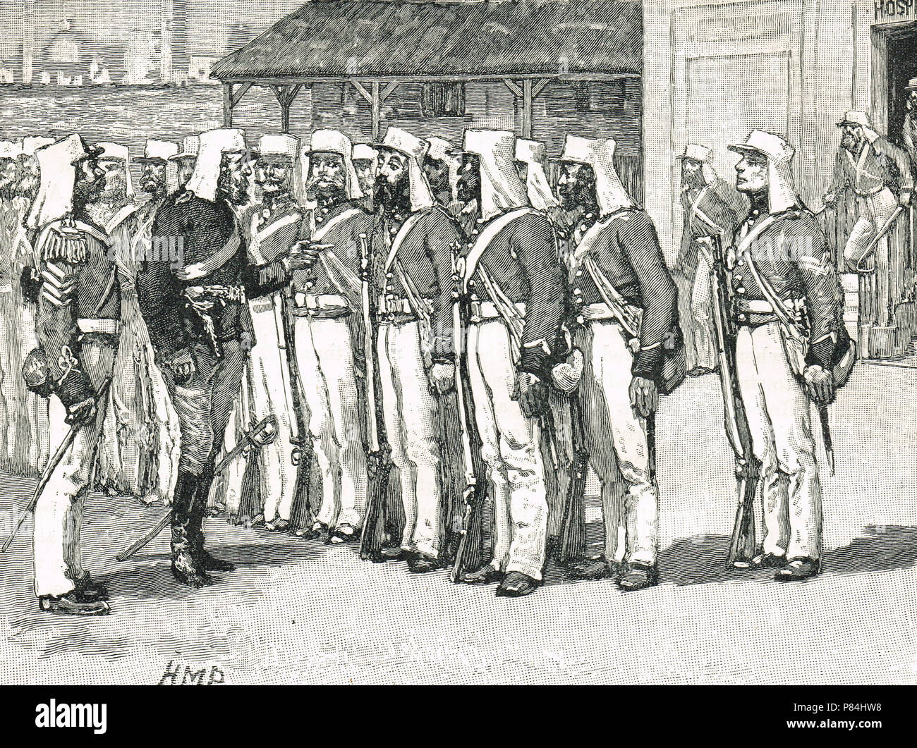 Sick soldiers, leaving hospital of their own accord, reporting for duty, and refusing to be ordered back, at the siege of Lucknow, Indian Rebellion of 1857 - Stock Image