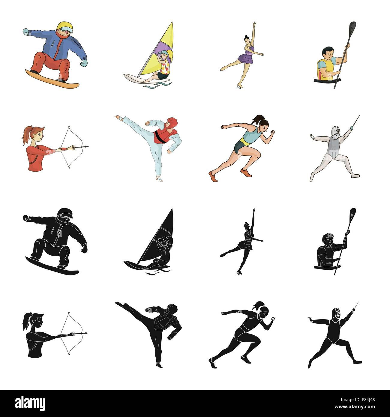 Archery, karate, running, fencing. Olympic sport set collection icons in black,cartoon style vector symbol stock illustration . - Stock Vector
