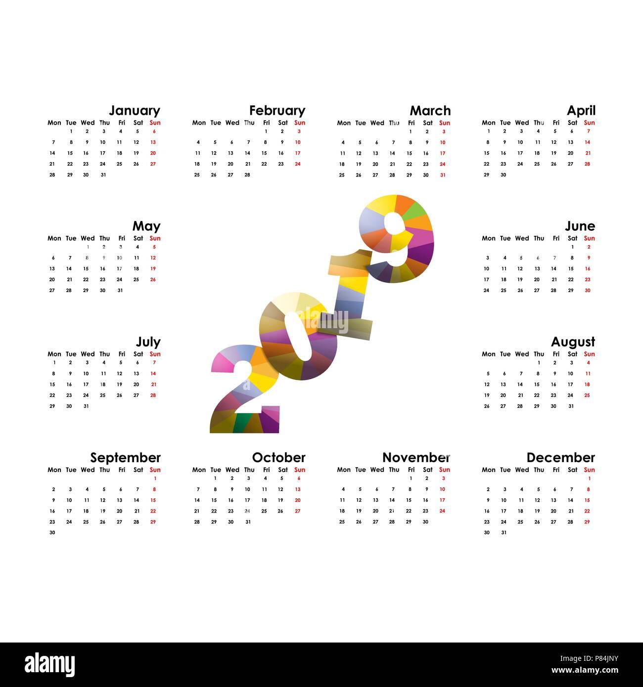 Calendar Templates Graphic Design : Calendar template starts monday yearly calendar vector design