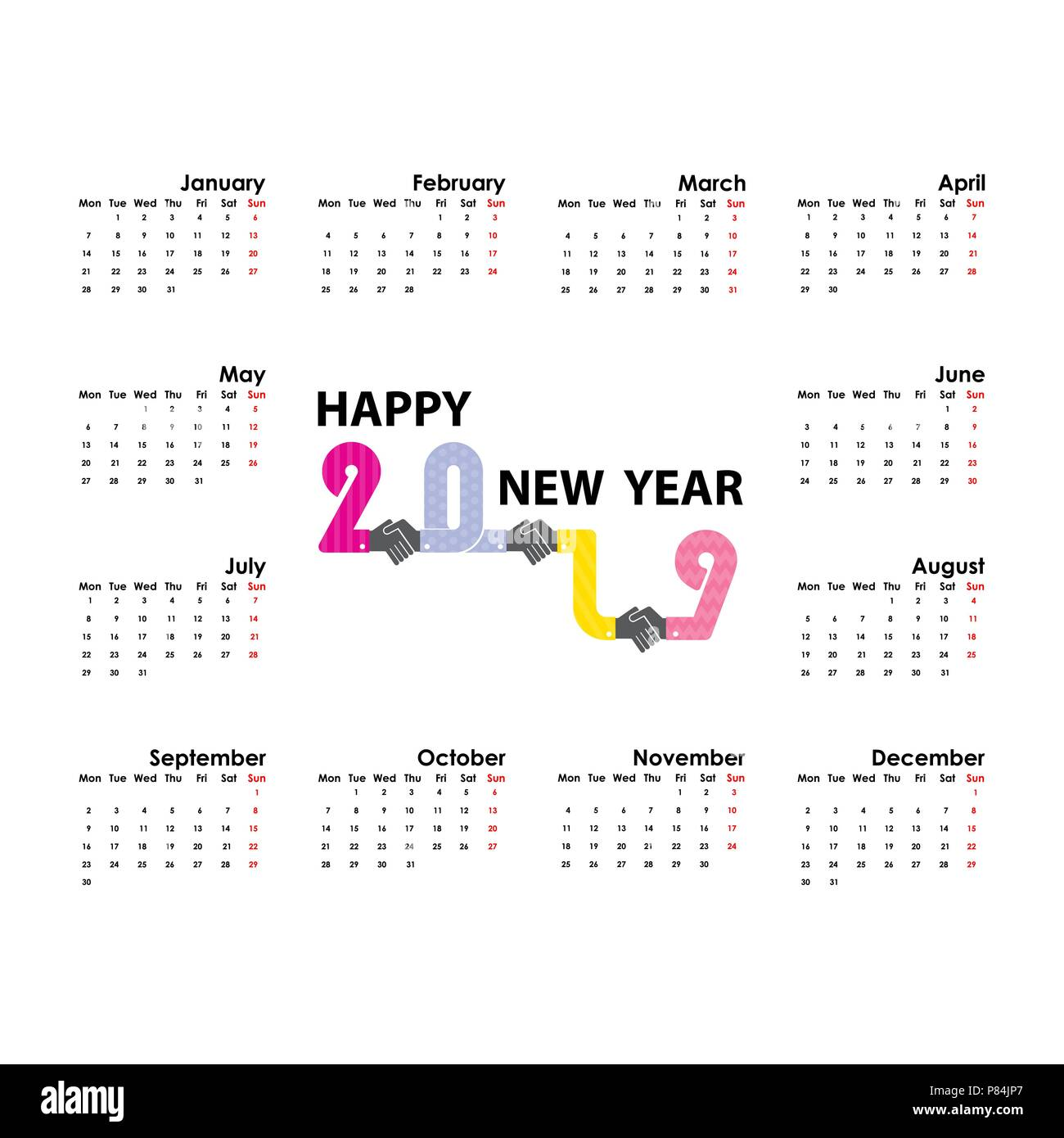 handshake and 2019 calendar template starts monday yearly calendar