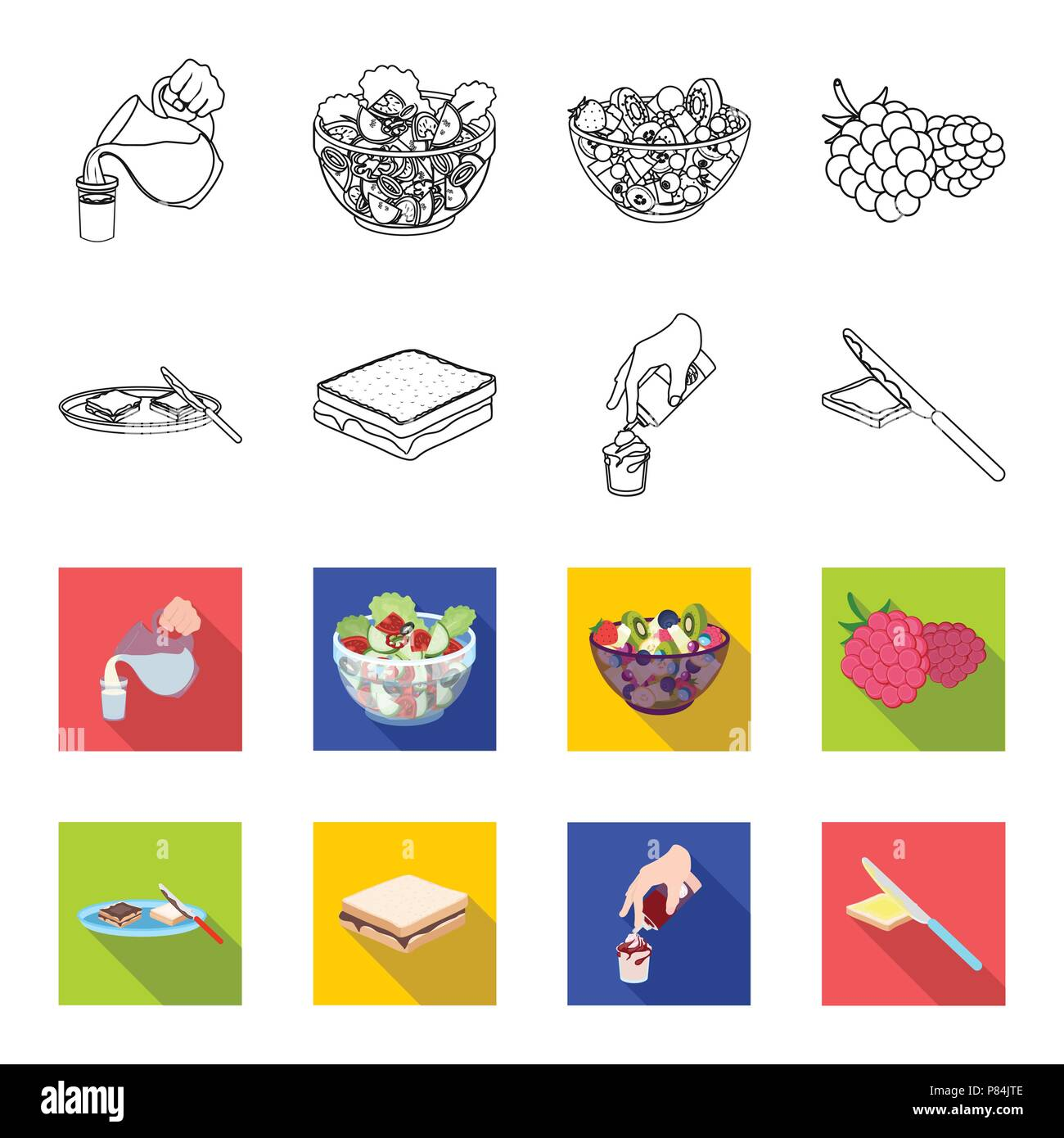 Dessert with cream, a sandwich and other food. Food set collection icons in outline,flet style vector symbol stock illustration . - Stock Vector