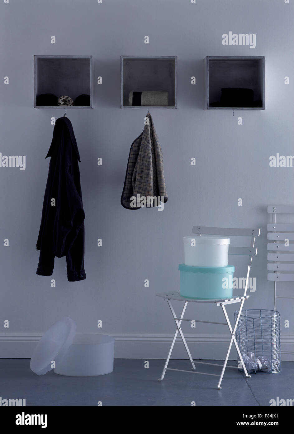 Peachy Jackets Hanging From Small Alcove Shelves Above Plastic Cjindustries Chair Design For Home Cjindustriesco