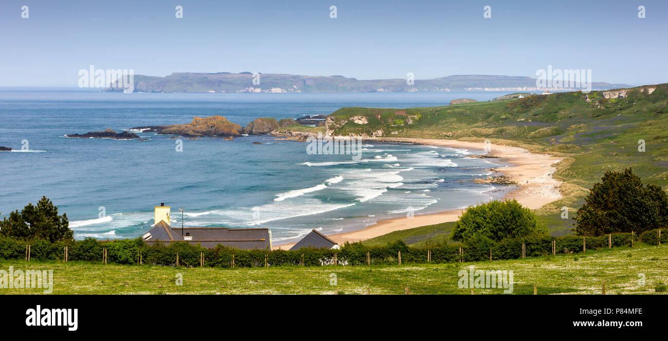 UK, Northern Ireland, Co Antrim, White Park Bay, panoramic Stock Photo