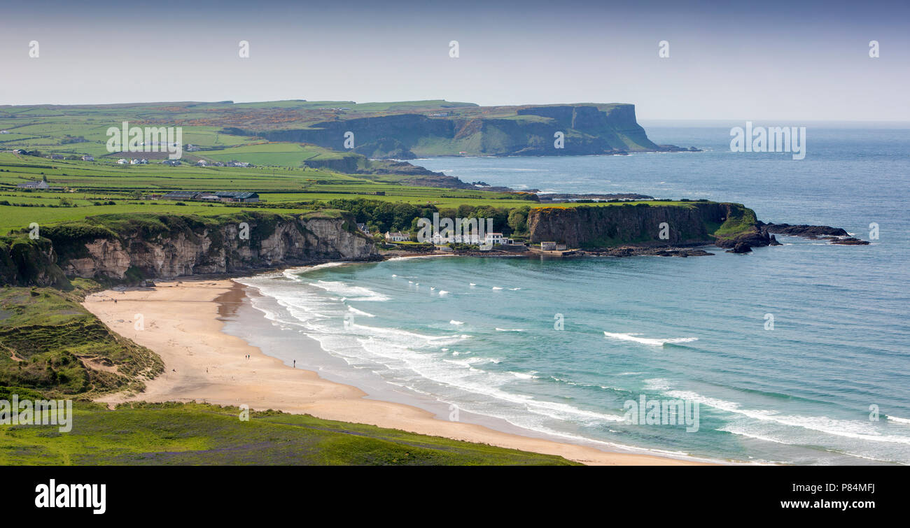 UK, Northern Ireland, Co Antrim, Portbraddan beside White Park Bay - Stock Image