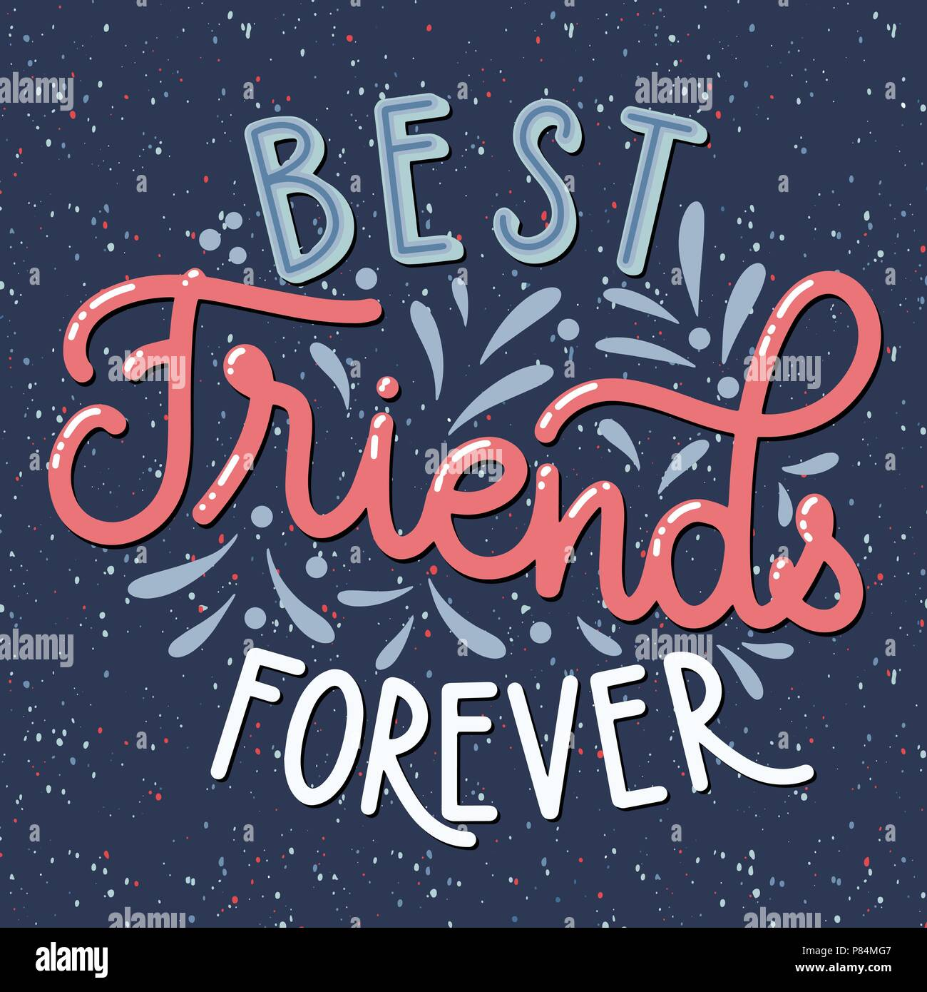 Friendship Day Hand Drawn Lettering Best Friends Forever Vector