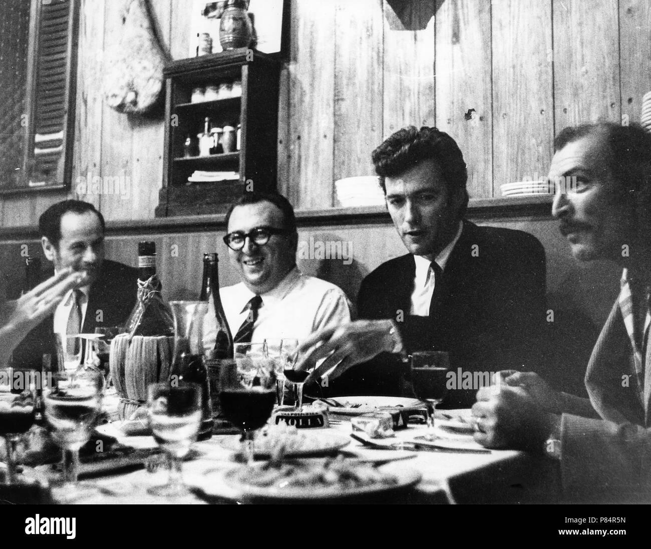 clint eastwood, lee van cleef, sergio leone, eli wallach, rome 1966 Stock Photo
