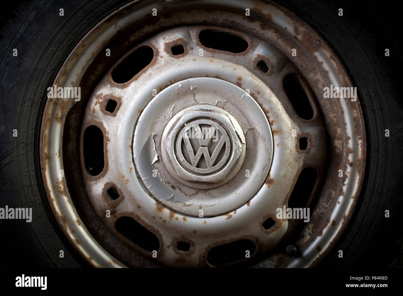 Corroded wheel on a second hand car. - Stock Image