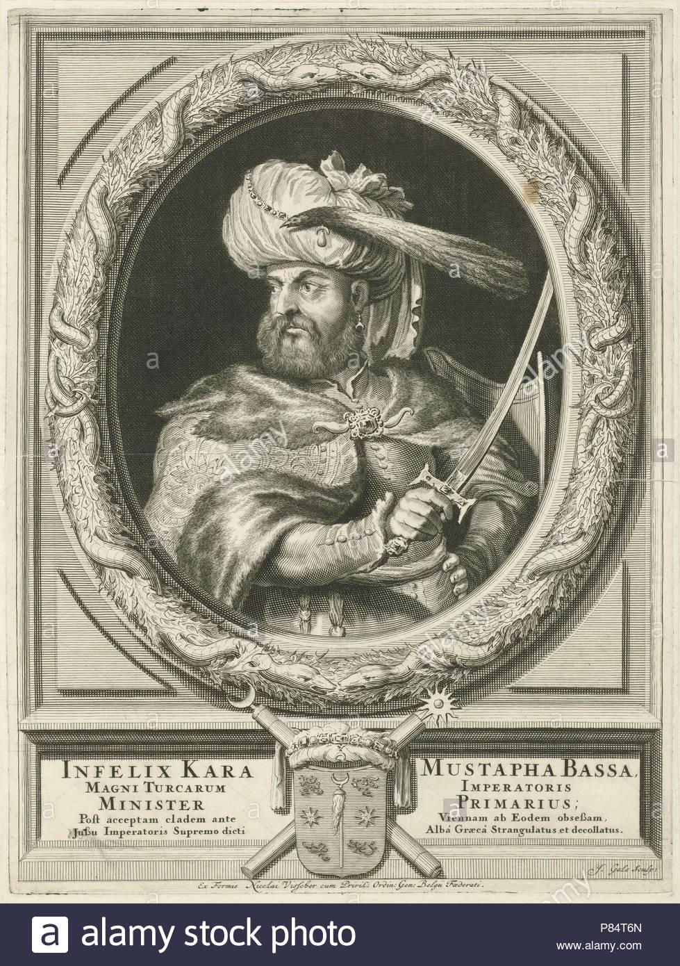 Portrait of Kara Mustafa Pasha, Jacob Gole, Nicolaas Visscher (II), Republiek der Zeven Verenigde Nederlanden, 1670 - 1724. - Stock Image