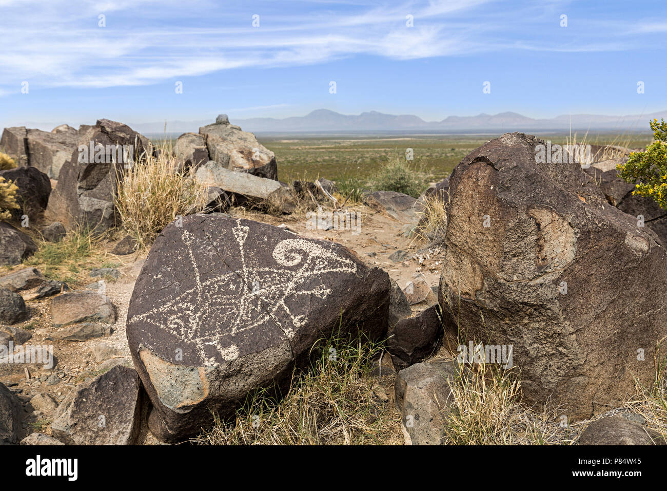 Jornada Mogollon rock art at Three Rivers Petroglyph Site, New Mexico, USA - Stock Image
