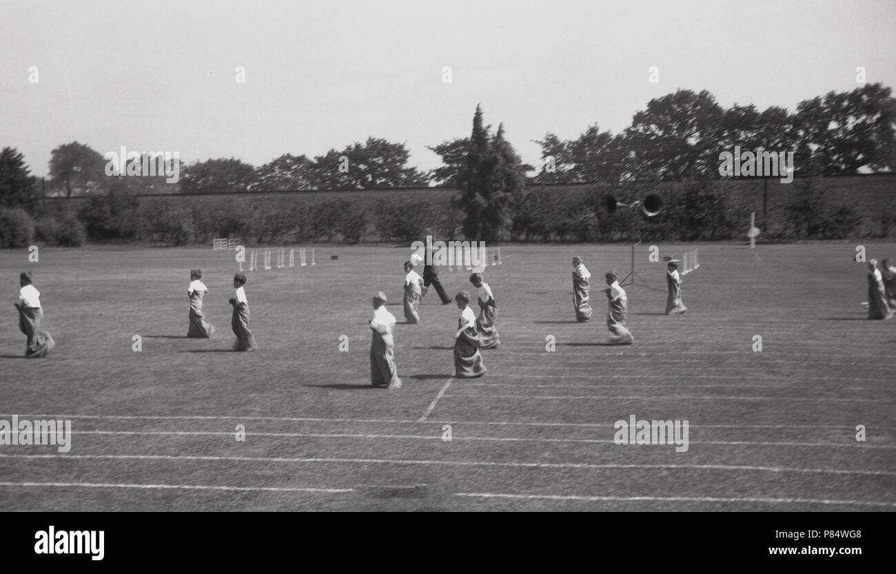 school sports day, sack race - Stock Image