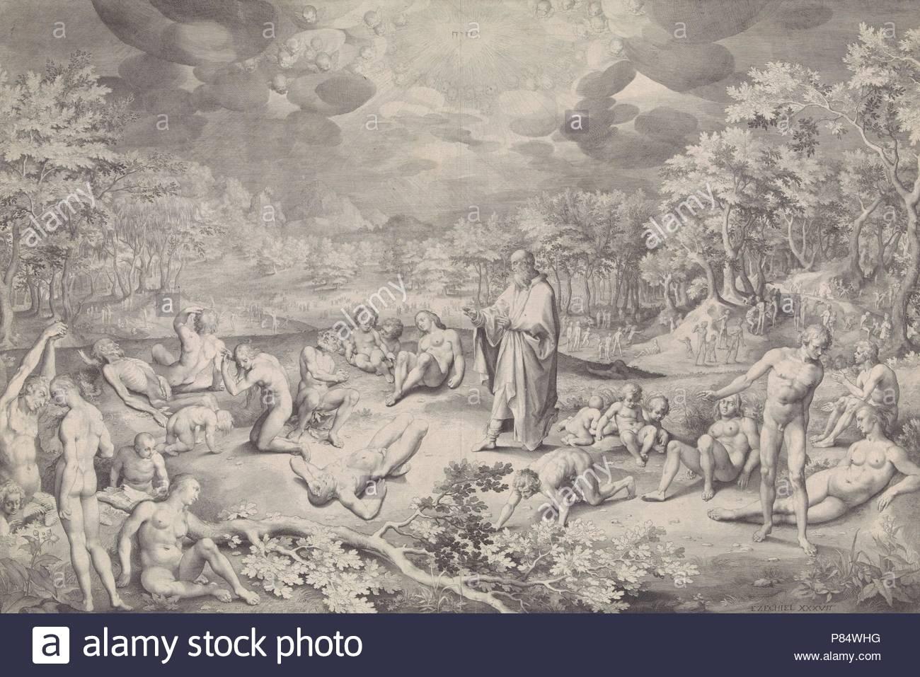 Vision of Ezekiel across the valley of bones, Nicolaes de Bruyn, 1606. - Stock Image