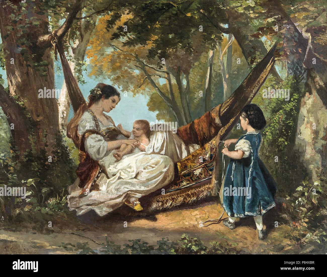 Courbet Gustave Femme Au Hamac Tenant Son Enfant Stock Photo