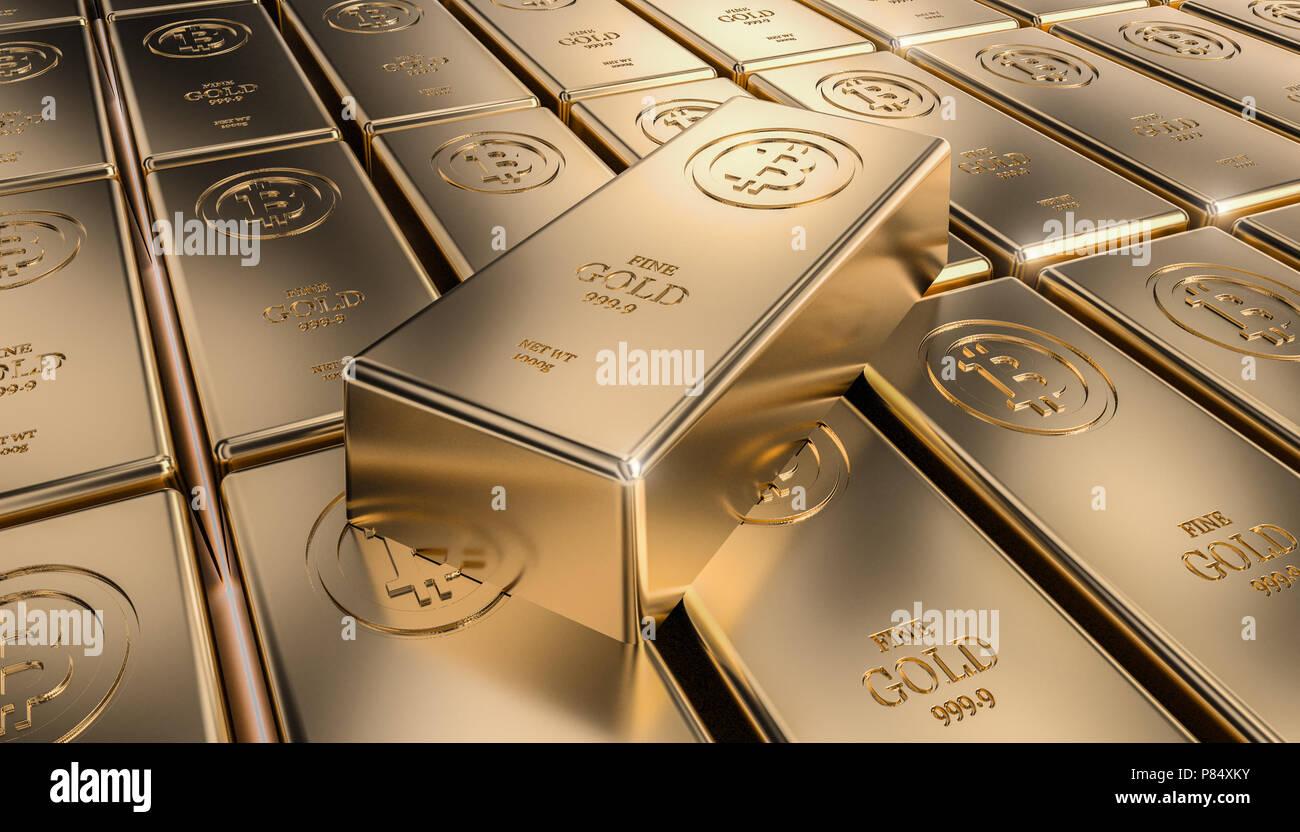 golden bitcoin ingot 3d rendering image - Stock Image