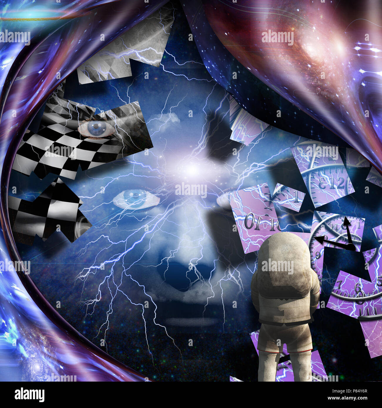 Surrealism. Spirals of time and warped space. Astronaut. Woman's face with lightnings in deep space. - Stock Image