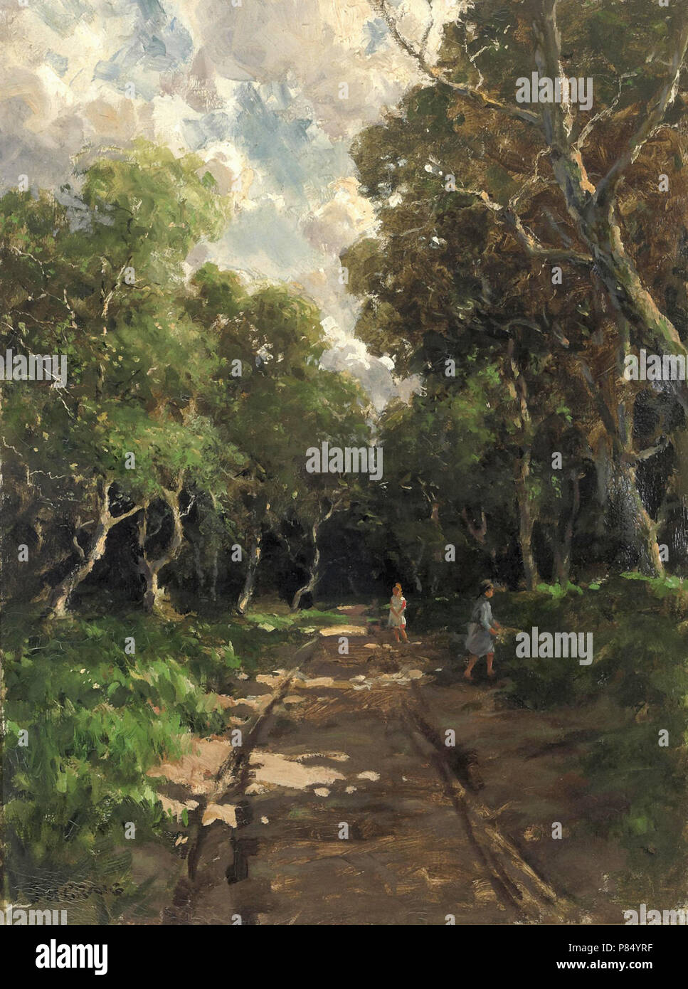Craig  James Humbert - a Country Lane with Figures - Stock Image