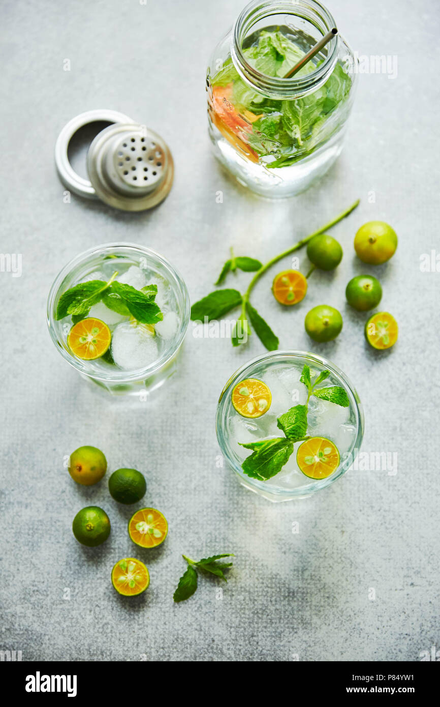 Gin and tonik cocktail with green calamondin and fresh mint leaf. Vertical top view. - Stock Image