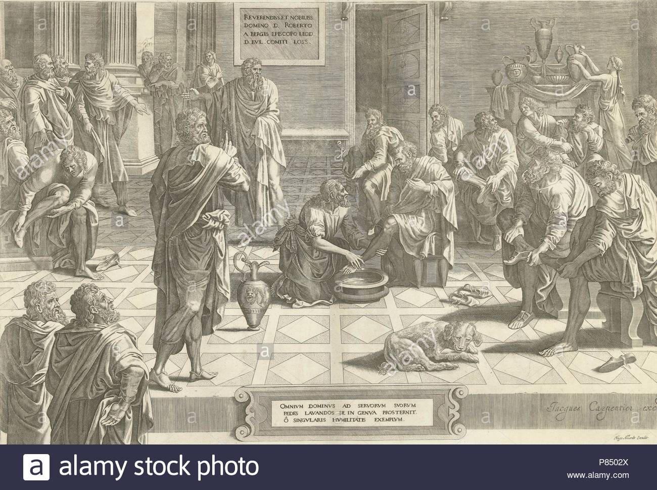 Christ washes the feet of the disciples, print maker: Anonymous, Hans Collaert I attributed to, Lambert Lombard, c. 1640 - c. 1684. - Stock Image