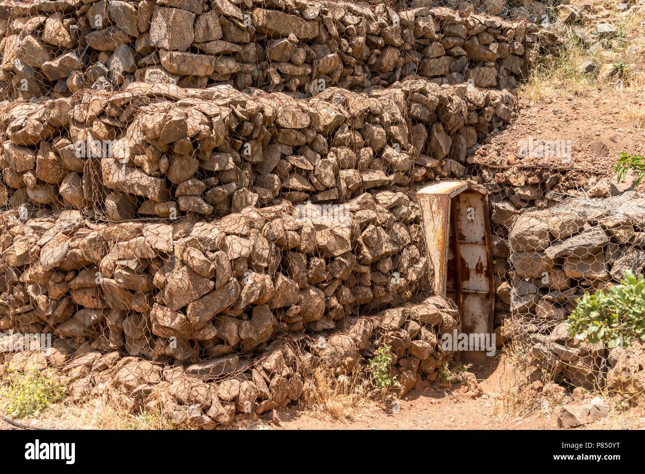 Military bunker entrance on Mount Bental on the Israeli Syrian border - Stock Image